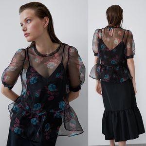 Zara PRINTED ROSE ORGANZA SEMI-SHEER BLOUSE PEPLUM
